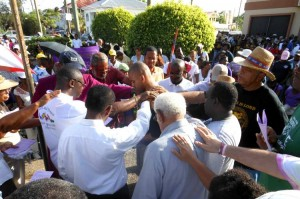 Church leaders lay hands on Belize City Mayor Darrell Bradley